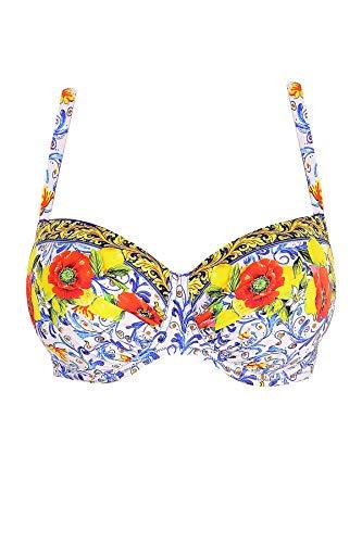 18c9b5743439 Antigel La Folie Azulejos Bikini Bandeau BH F-G Cup Citron Fleuri 70G