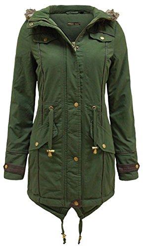Neue Damen Plus Größe Pelz Kapuze Pu Trim Mäntel füllte Winterjacken Khaki 50 (Jacke Pelz-trim Kapuze)