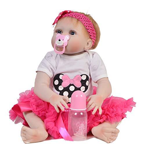 Reborn Babypuppe, 23 '' 57 cm Großhandel Reborn Girl Doll Vollsilikon Körper Realistische Baby Doll Spielzeug für Kinder Geburtstagsgeschenk Kinder Playmate Geburtstagsgeschenke, braune Augen - Großhandel Girls Fashion