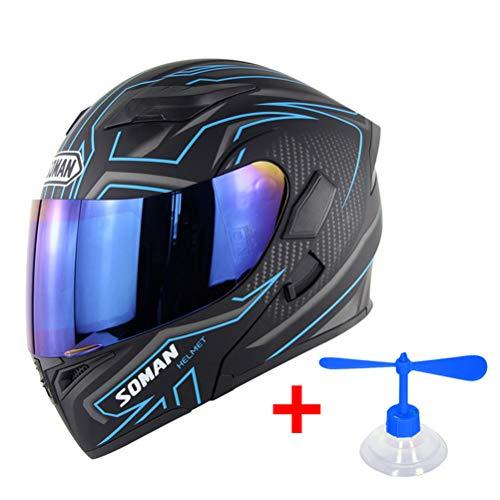OD-B Casco Integrale Moto Apribili DOT Motorino Scooter Caschi, Motocicletta Integrali Casco per Donna Uomo Adulti con Doppia Visiera Parasole (Lente Blu),BlueA,M