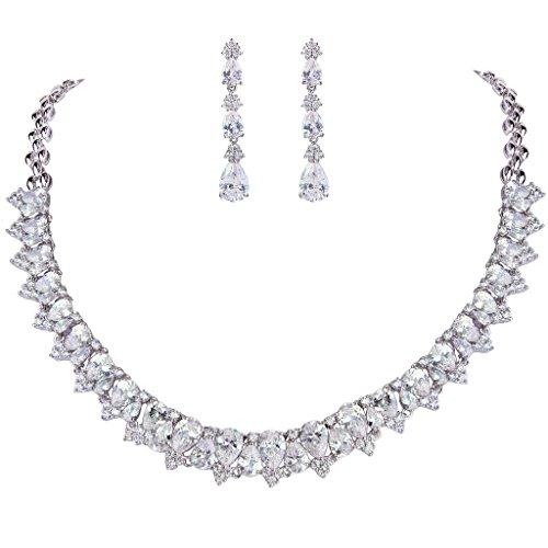 EVER FAITH® delle donne sacco CZ Teardrop 2 strati della collana di orecchini da sposa Set Cancella silver-tone