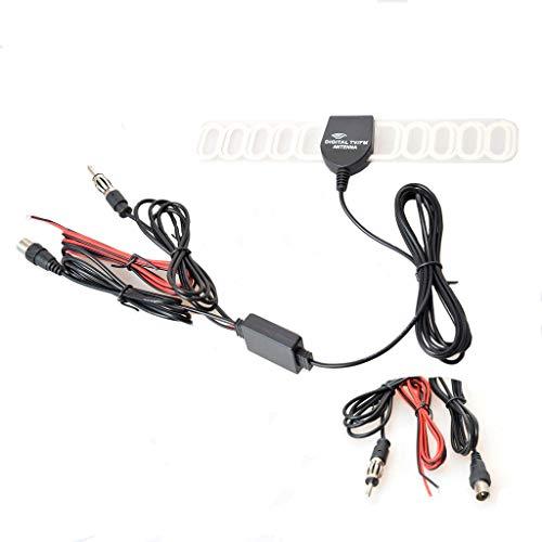 Auto Kfz Radio FM/AM Antenne Verstärker Verbinder Klebeantenne Booster Universal Antennenkabel für Analog/Digital DVB-T ATSC ISDB TV(IEC + Radio + Leistung Stecker) -