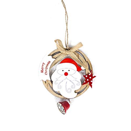 Bestoyard decorazioni albero di natale in legno forma corone natalizie ghirlanda natalizia con babbo natale campana di natale