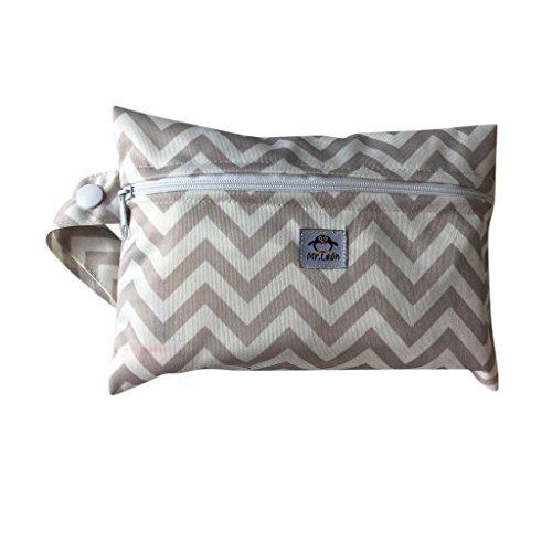 Mr. Leon praktische Nasstasche Wetbag geeignet als Drybag für Slipeinlagen oder Baby Windeltasche windelbeutel (Standart, Grau gezackt)