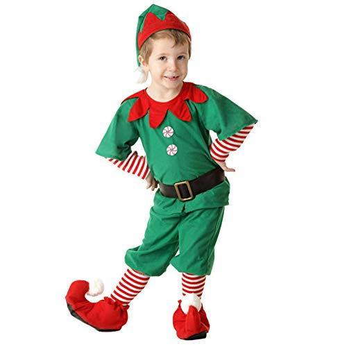 Unbekannt Damen Weihnachtsmann Kostüm Deluxe Weihnachten Weihnachten Outfit Green Holiday Elf Weihnachten Kostüm Süßes Kleid Junge Mädchen Party Dress Up Geschenk,130cm-Boycostume - Green Holiday Kleid