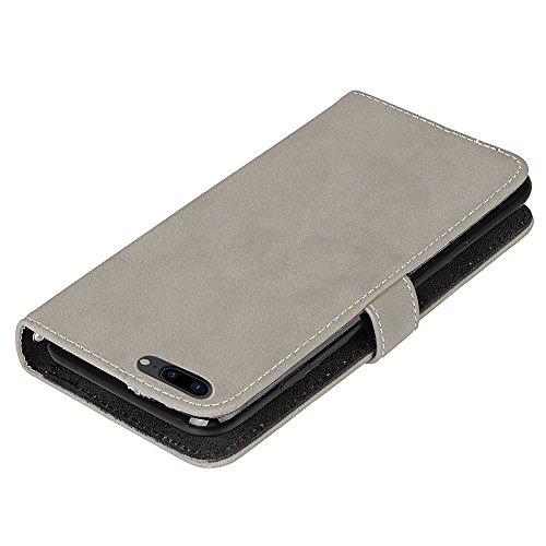 Hülle für iPhone 7 plus , Schutzhülle Für iPhone 7 Plus Frosted Style Premium PU Leder Geldbörse Hülle Flip Stand Abdeckung Fall mit 9 Card Cash Slot ,hülle für iPhone 7 plus , case for iphone 7 plus  Gray