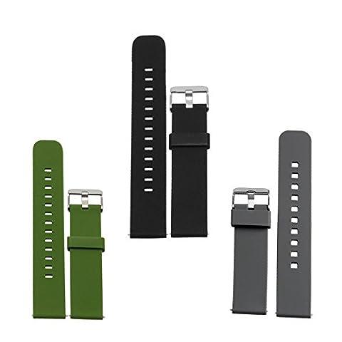 18, 20, 22mm bracelet silicone montre, DL Haute qualité Replacement Bande Bracelet Chaîne de Montre Avec Fermoir en Métal Réglable pour Femme et Homme, Pack of 1 or 3