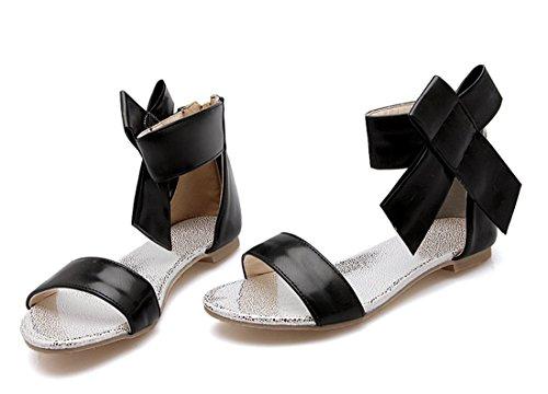 YE Frauen öffnen Zehe flach Sommer Sandalen mit Bogen Riemchen Strandschuhe mit Reißverschluss Schwarz