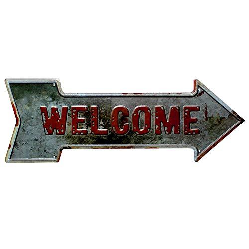 Lumanuby 1x Schäbig Pfeil Werbung für Bar Club Pub Café Restaurant oder Dessert Geschäft Metallschild mit Prägen Wort' Welcome' für Geschäft oder öffentliche Bereiche, Bar Sprüche Serie Dessert-club