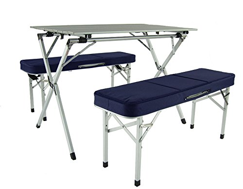 Aluminium tragbare klappbare Sitz- und Essplatz-Garnitur (blau) - campingtisch | picknickmöbel | klapptisch | bänke | tisch-set | campingmöbel | campingstuhl | urlaub | RV | Mobilheim | freizeit