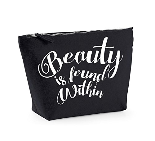 Beauty is Found Within - Fun Slogan, Make Up and Cosmetics Bag, Accessory Organiser Black/White