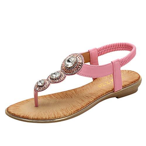 YEARNLY Damen Sandals, Frauen Sandalen Sommer Bohemian Strass Flach Sandaletten PU Leder Zehentrenner Schwarz, Beige, Pink 35-41