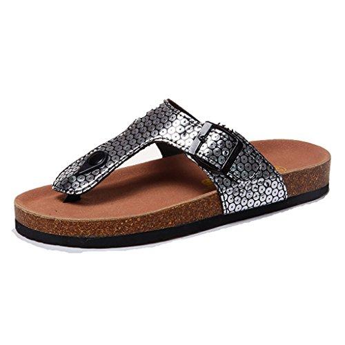 PENGFEI Mules Femme Pantoufles de plage de plage Lovers flambeaux de liège d'été Lovers Girls sandales plates Confortable et respirant ( Couleur : Noir , taille : EU36/UK4/L:230mm ) Silver