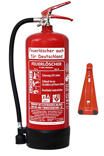 6 L Schaum Feuerlöscher Brandklasse AB DIN EN 3 + GS , Prüfnachweis mit Jahresmarke, Manometer, Wandhalter, Messingarmatur Sicherheitsventil, Standfuß, Schaumlöscher (Ohne Prüfnachweis u. Jahresmarke)