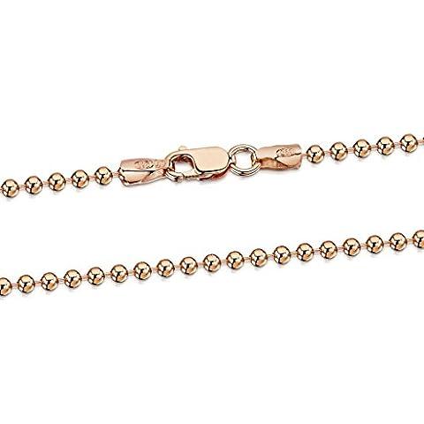 Amberta® Bijoux - Collier - Chaîne Argent 925/1000 - Plaqué Or Rosé 14K - Maille Boule - Largeur 2 mm - Longueur 40 45 50 55 60 70 cm (40cm)