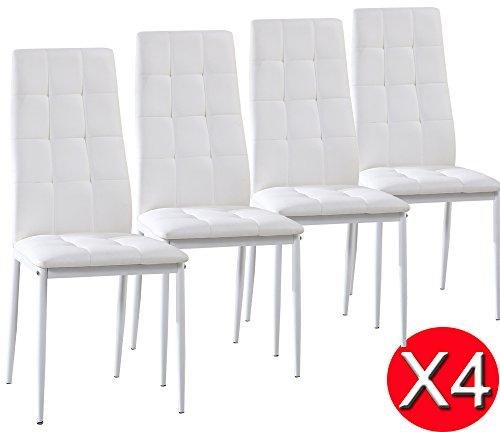 Set di 4 sedie Sophia da pranzo, bianco
