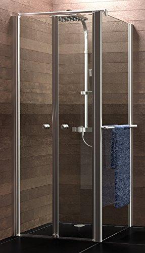 Schulte Duschkabine Pendeltür Seitenwand Mincio, 90x90 cm, 6 mm Sicherheits-Glas mit Versiegelung, alu-natur, Montage auf Duschwanne