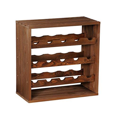 """Weinregal / Flaschenregal System CUBE 50, Modul 3 """"Standard"""" für 15 Fl., Holz Fichte, tobacco, stapelbar / erweiterbar – H 50 x B 50 x T 25 cm"""