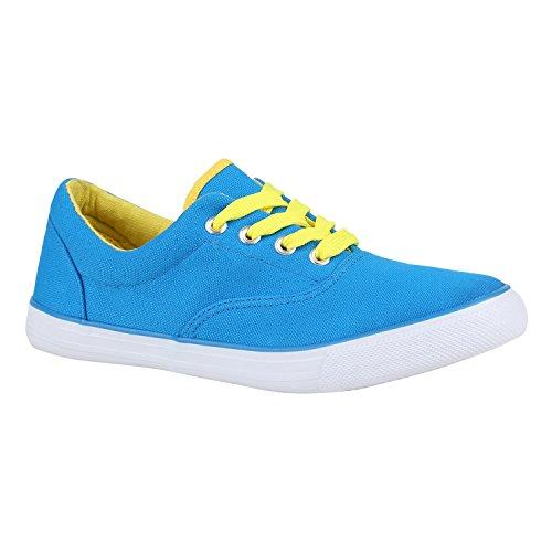 Sportliche Damen Schuhe Sneakers Basic Freizeit Schnürer 155814 Hellblau Gelb 37 Flandell