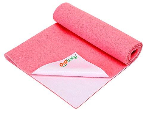 OYO BABY - Quickly Dry Sheet / Cot Mattress Protector Mat / Crib Sheets (140cm X 100cm, Large) - Salmon Rose
