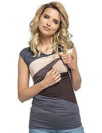 HAPPY MAMA Mujer Top Camiseta Premamá Lactancia Bloque De Color Doble Capa. 369p
