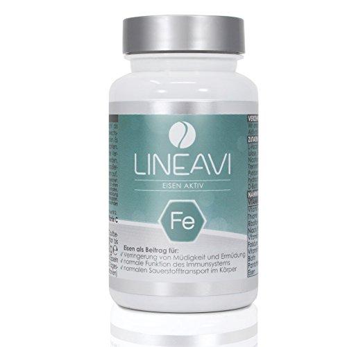 LINEAVI Eisen Aktiv • Eisen, Vitamin C und B-Vitamine • unterstützt das Immunsystem und die Verringerung von Müdigkeit bei • in Deutschland hergestellt • 120 vegane Eisentabletten (4-Monatsvorrat)