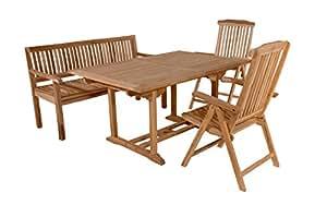 SAM Teak-Holz Gartengruppe Solo 4tlg. bestehend aus 1x Tisch Caracas + 2x Stuhl Solo + 1x Sitzbank, für Balkon
