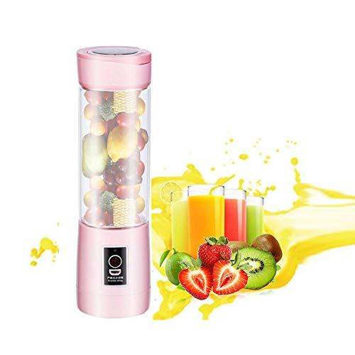 Licuadora portátil, 500 ml USB Juicer Cup, mezclador de frutas para el hogar,Juicer Blender portátil fruta, batido, mezcla de alimentos para bebés con motor potente,Pink