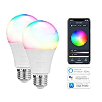 E27 Smart Bulb, leegoal 2pcs Dimmable RGB LED 10W WIFI Light Bulbs with Multiple Device APP Control, Timing Function, Voice Control, Compatible with Amazon Alexa, Google Home, Tuya