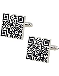Zivom Qr Code White & Black Rhodium Brass Cufflink Formal Shirt Blazer Suit Cufflinks Pair Men Rakhi Raksha Bandhan...