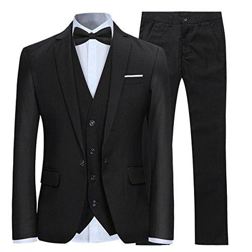 Herren 3-Teilig Slim Fit Anzug Smoking Anzugjacke Hose Weste von Allthemen Schwarz Small