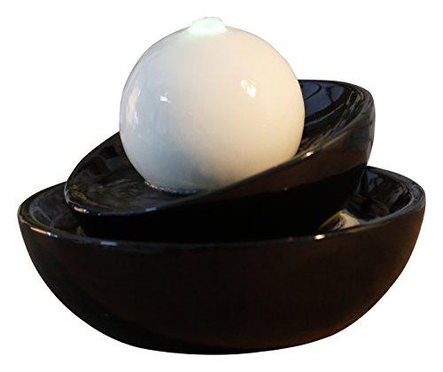 Zen'Light Zen Flow Zimmerbrunnen mit LED-Beleuchtung, aus Keramik, schwarz/weiß, 23x 23x 18cm