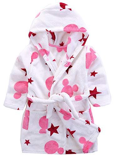 Kinder Bademantel mit Kapuze Nachthemd, Jungen Mädchen Niedlich Pyjamas Flanell Nachtwäsche Robe Karikatur Schlafanzüge Hausmantel (Stern, 110 / Geeignet für Höhe 100 cm) -