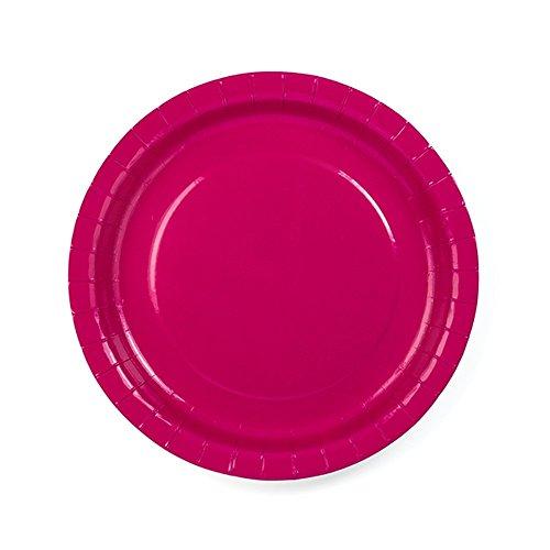 Pappteller pink 23 cm 6 Stück - Einwegteller Hochzeit Partyteller Kindergeburtstag Pappgeschirr Taufe Einweggeschirr Kommunion Partygeschirr Baby Shower pink