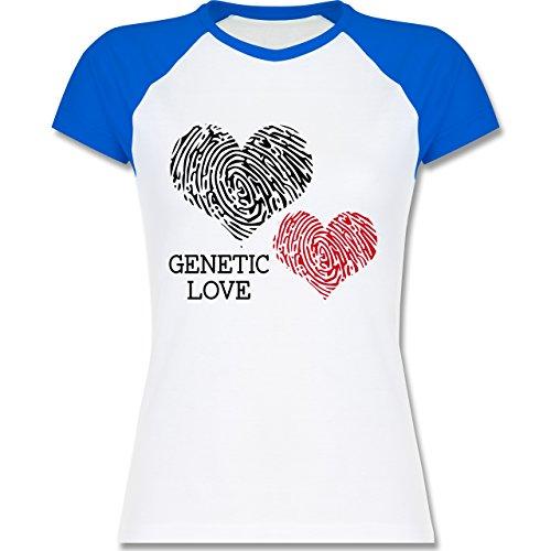 Romantisch - Genetic Love Fingerabdruck - zweifarbiges Baseballshirt / Raglan T-Shirt für Damen Weiß/Royalblau