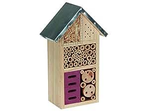 Perel bb50502M Hôtel à insectes en bois avec toit en métal–marron