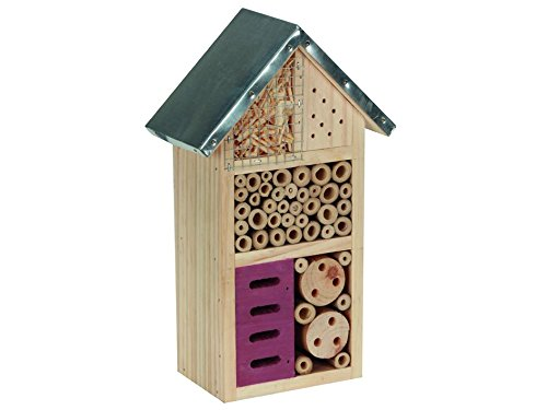 PEREL BB50502 Medium Wooden Insect Hotel with Metal Roof - Brown 1