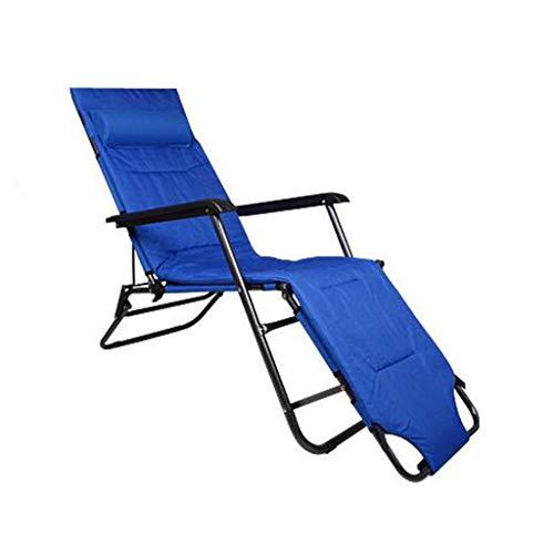 Klappstuhl Strandkorb Mit Fußstütze Für Erwachsene Reisen Outdoor Angeln Tragbarer Sitz Metall Chaise, Blau, Halten 103 kg -
