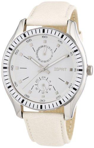 Esprit 304 STAINLESS STEEL A.ES105632002 - Reloj analógico de cuarzo para mujer, correa de cuero color blanco