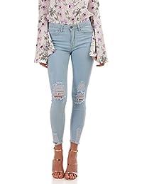 La Modeuse Jeans slim destroy et finitions effilochées