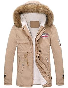 Zarupeng Chaqueta de algodón con capucha de los hombres de la chaqueta de algodón de la cremallera larga del otoño...