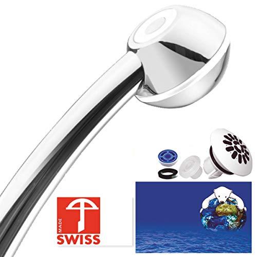 Sparbrause SwissClima I-SHOWER für mehr Druck, Durchlauferhitzer oder Nebenkosten-Reduktion: kalkfrei, kräftiger Strahl, Aufsatz für weichen Regenstrahl, 1 Reduzierer f. 2 Durchflussmengen