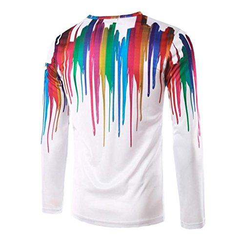 OverDose Herren Mode Print Slim Fit Casual Shirt Rundhals Basic Shirt Fitness T-shirt D