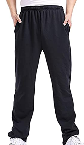 Fulok Mens Solid Straight Leg Sport Soft Baggy Elastic Waist Pants X-Large Black