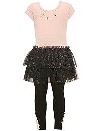 Little Girls Pink Black Glitter Floral Applique Studded Legging Outfit 2-4T