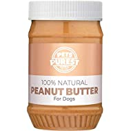 Pets Purest 100% Natural Peanut Butter For Dogs - Specially Formulated For Dogs No Added Sugar, Salt or Xylitol - Free From Palm Oil, Wheat & Gluten - Healthy Source Of Protein