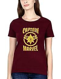 f386673926 EKTARFA Graphic Printed Half Sleeves T-Shirt for Women   Captain Marvel  Logo T-Shirt   Superhero Tshirt   100%…