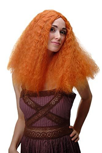 WIG ME UP YZF-7304-T2735 peluca para mujeres voluminosa naranja rizos salvajes raya en medio vikinga escocesa
