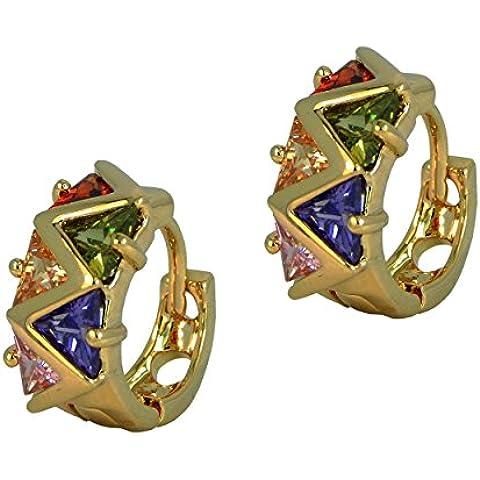 Hot trendy cerchio stile–placcato oro triangolo orecchini di cristallo multicolore in confezione regalo - Hot Diamonds Cerchio Orecchini