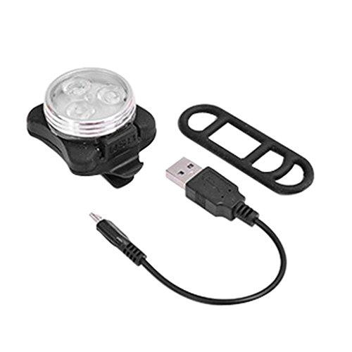 Hunpta 3 LED Fahrrad Fahrrad Bike Kopf hinten USB aufladbare Tail Clip Lampe (Weiß)